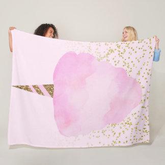 Pink Cotton Candy & Gold Glitter Whimsical Fun Fleece Blanket