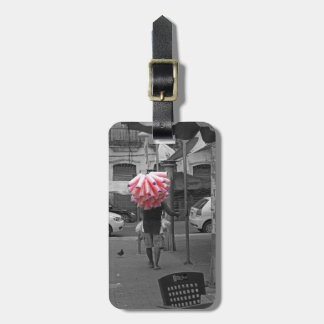 Pink cotton candy man luggage tag