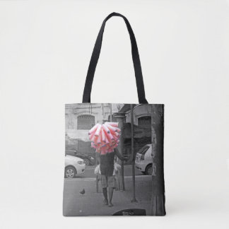 Pink cotton candy man tote bag