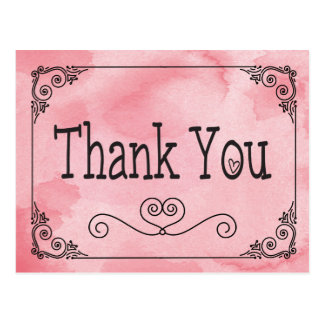 Pink Cotton Candy Thank You Watercolor Heart Postcard