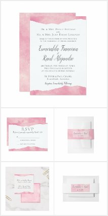 Pink Cotton Candy Watercolor Wedding