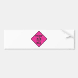 Pink Cougar Crossing 3 Ladies Bumper Sticker