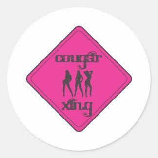 Pink Cougar Crossing 3 Ladies Classic Round Sticker