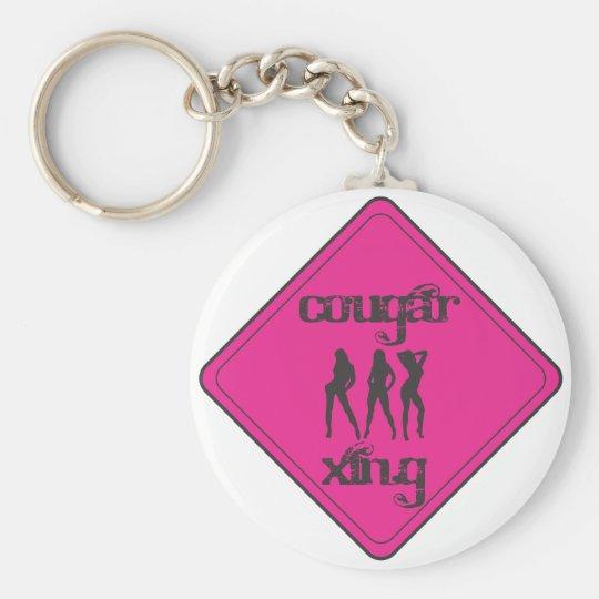 Pink Cougar Crossing 3 Ladies Keychain
