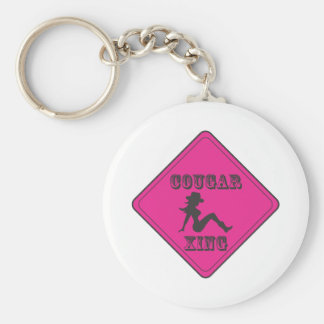 Pink Cougar Crossing Cowgirl Keychain