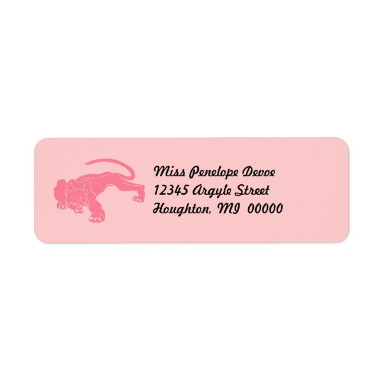 Pink Cougar Return Address Labels Big Cat Cats