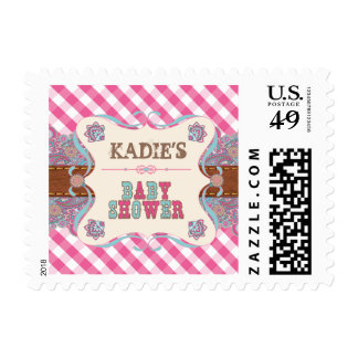 Pink, Country Baby Shower, Gingham Stamp