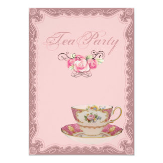 Pink Country Bridal Shower Tea Party Invitation