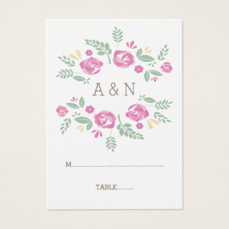 Pink Country Floral Monogram Wedding Place Cards