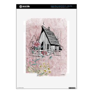 Pink Country Floral Rustic Barn Decals For iPad 3