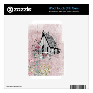Pink Country Floral Rustic Barn Decals For iPod Touch 4G