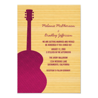 Pink Country Guitar Wedding Invitation