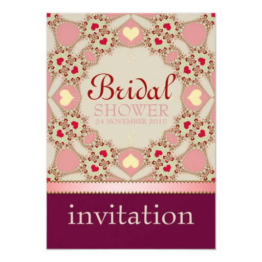 Pink Country Hearts Bridal Shower Party Invitation