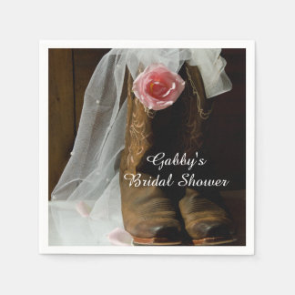 Pink Country Rose and Cowboy Boots Bridal Shower Paper Napkin