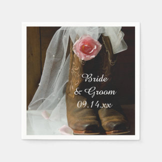 Pink Country Rose and Cowboy Boots Western Wedding Napkin