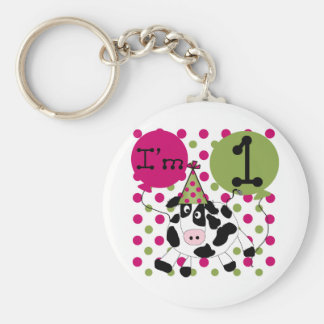 Pink  Cow 1st Birthday Tshirts and Gifts Basic Round Button Keychain