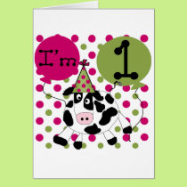 Pink  Cow 1st Birthday Tshirts and Gifts Card