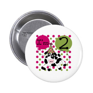 Pink Cow 2nd Birthday Button