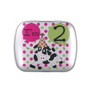Pink Cow 2nd Birthday Candy Tins and Jars