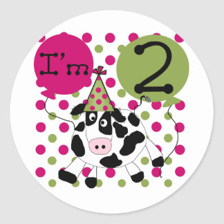 Pink Cow 2nd Birthday T-shirts and Gifts Classic Round Sticker