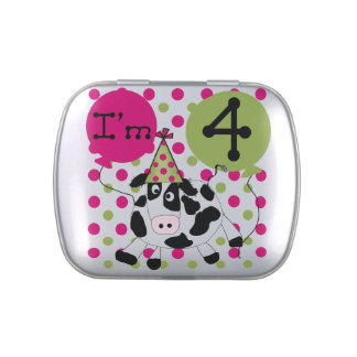 Pink Cow 3rd Birthday Candy Tins and Jars