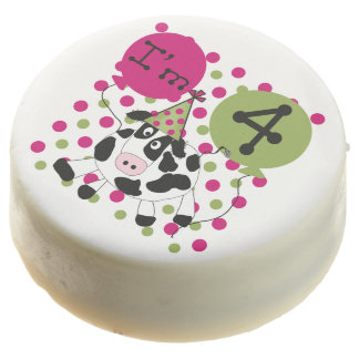 Pink Cow 4th Birthday Dipped Oreos
