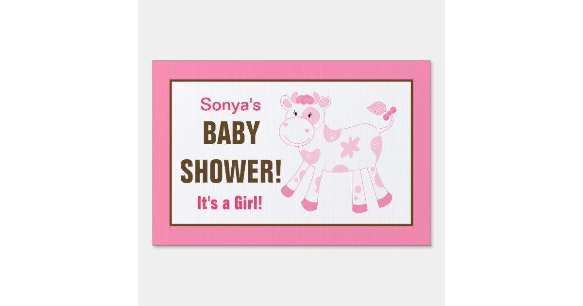 pink cow custom baby shower yard sign zazzle
