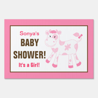 Pink Cow Custom Baby Shower Yard Sign