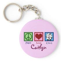 Pink Cow Cute Custom Keychain