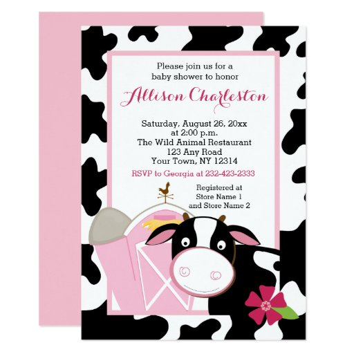Pink Cow Farm Girl Baby Shower Invitations