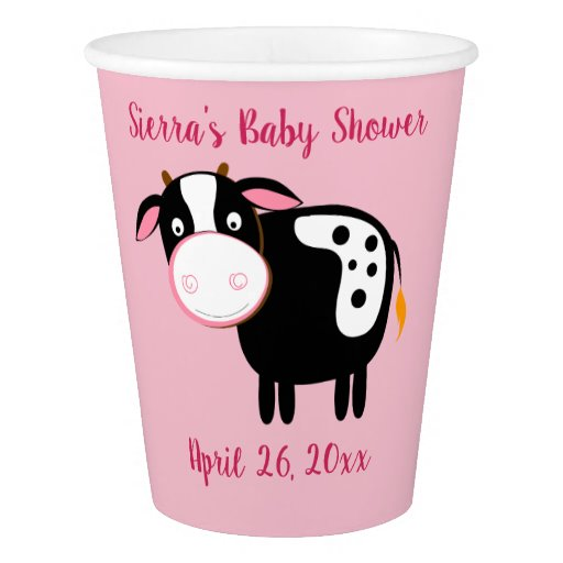 Pink Cow Farm Girl Party Paper Cups