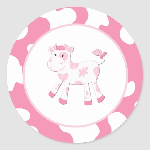 Pink Cow Farm Theme Envelope Seals 20