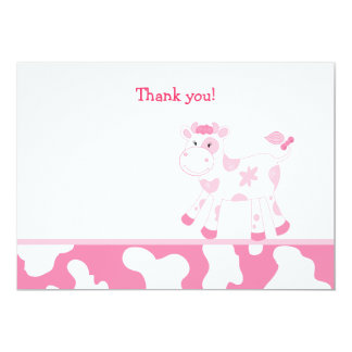 """Pink Cow Flat Thank you note 5"""" X 7"""" Invitation Card"""