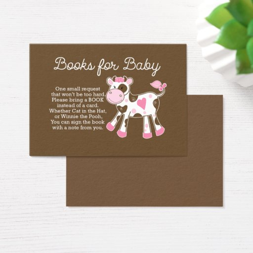 Pink Cow Girl Baby Shower Book Request Cards