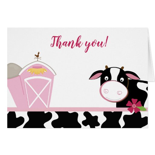 Pink Cow Girl Dairy Cows Farm Thank you Notes