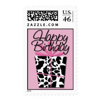 Pink Cow • Happy Birthday Postage Stamp