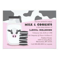 PINK Cow Milk and Cookies Baby Shower Invitations