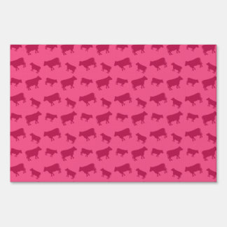 Pink cow pattern signs