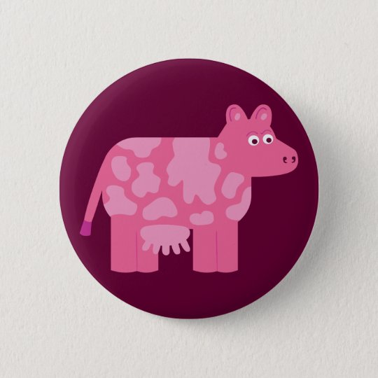 Pink Cow Pinback Button