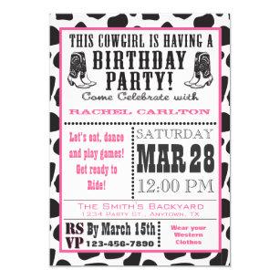 Cowgirl Birthday Invitations Announcements Zazzle