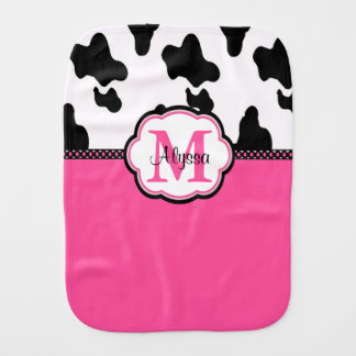 Pink Cow Print Personalized Burp Cloth