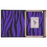 Pink cow purple zebra stripes iPad folio case