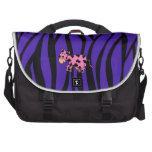 Pink cow purple zebra stripes laptop bag