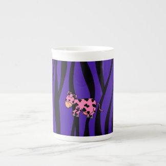 Pink cow purple zebra stripes porcelain mug