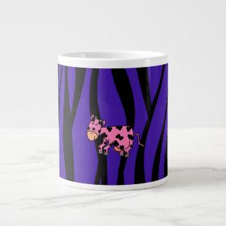 Pink cow purple zebra stripes jumbo mug