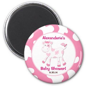 Pink Cow Round Custom Favor Magnet
