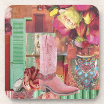 Pink Cowboy Boot Drink Coaster