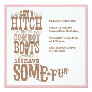 "Pink Cowboy Boot Invitations 5.25"" Square Invitation Card"
