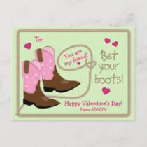 Pink Cowboy Boots Photo Classroom Valentine's Day Holiday Postcard