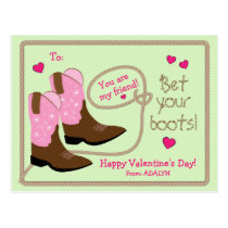 Pink Cowboy Boots Photo Classroom Valentine's Day Postcard